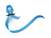 Blue ribbon with mustache vector. Prostate cancer and diabetes awareness month ribbon isolated on white background.