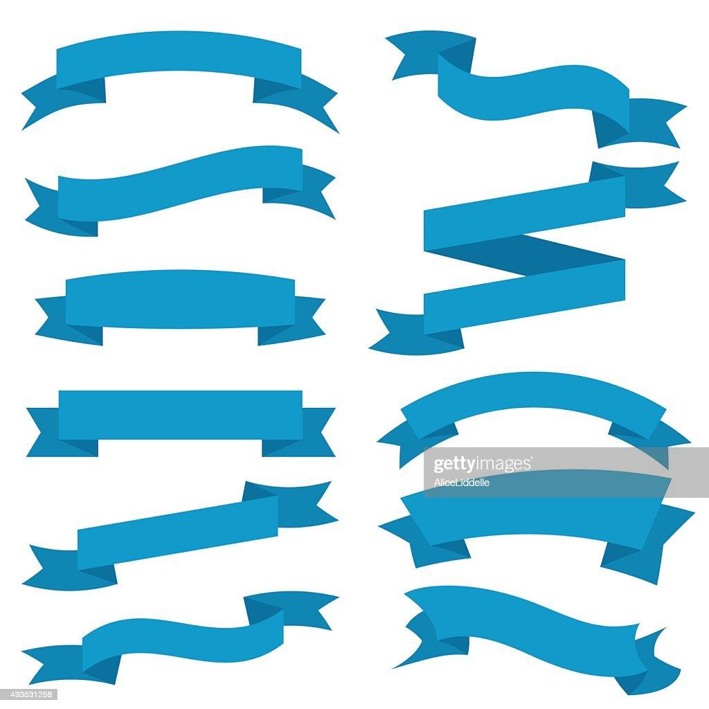 Blue Ribbons Set isolated On White Background. Vector Illustration