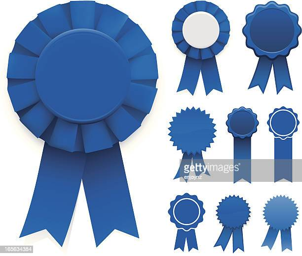 stockillustraties, clipart, cartoons en iconen met blue ribbons - award