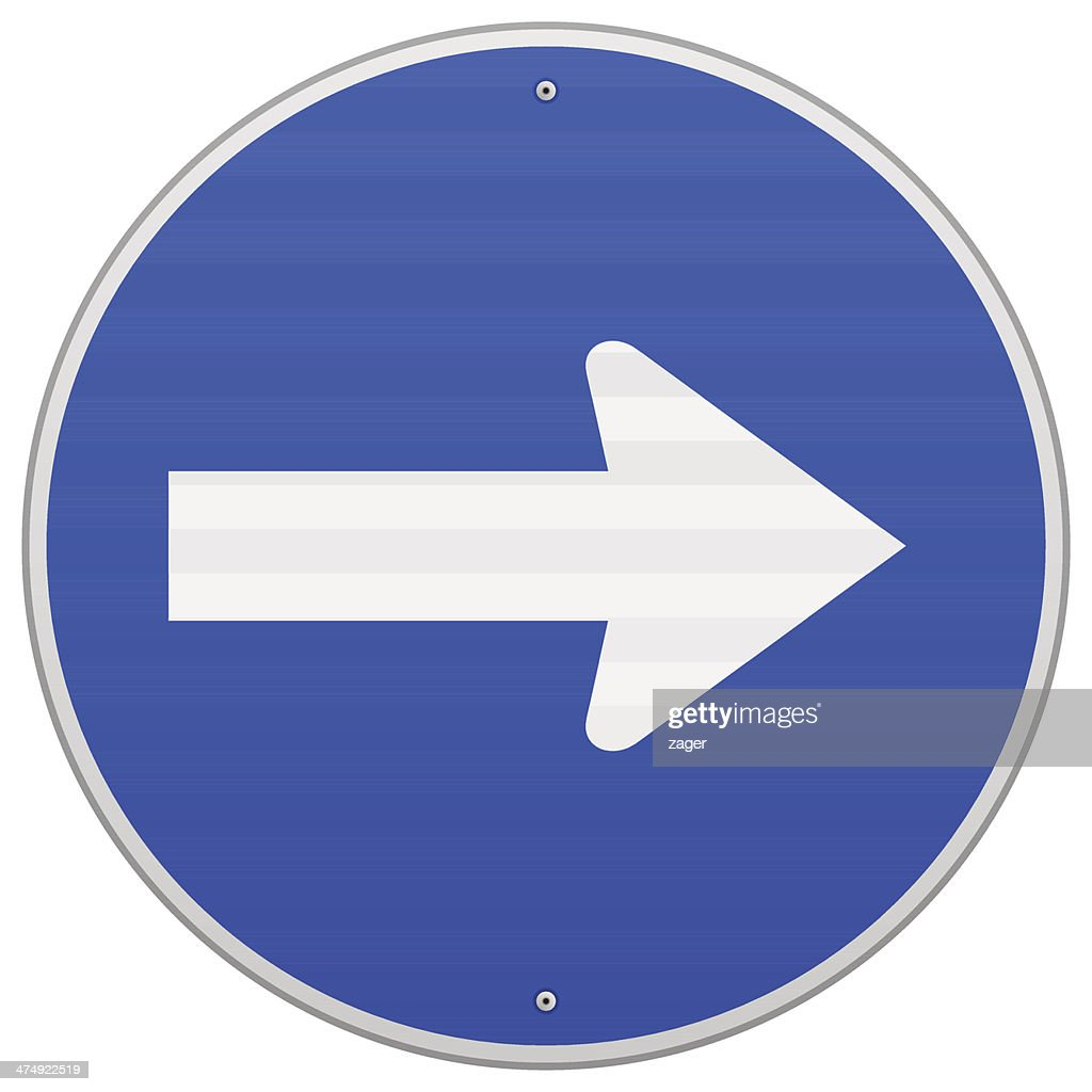 Blue Roadsign Pointing Right