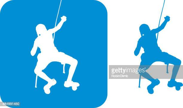 blue rock rock climbing girl icons - rock climbing stock illustrations, clip art, cartoons, & icons