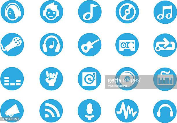 Blue Round Audio Icons