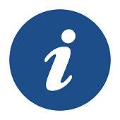 Blue round information icon, button on a white background