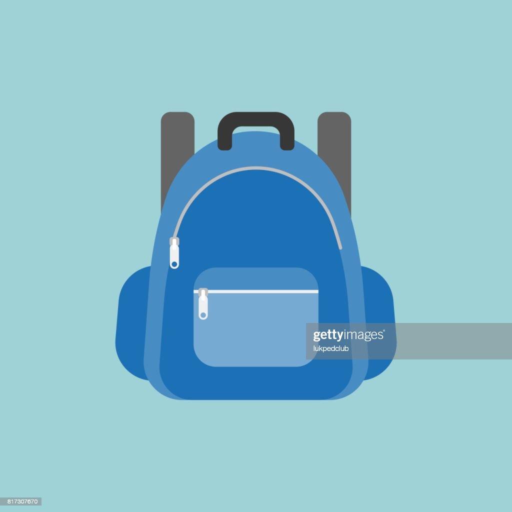 blue rucksack or backpack illustration