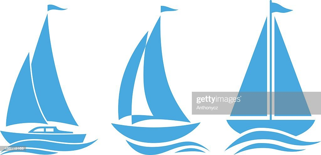 Blue sailboat icons