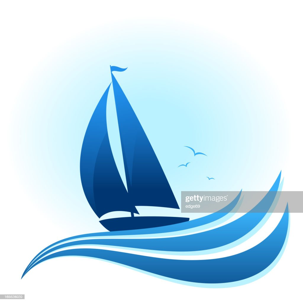 Blue sailboat illustration with waves and birds : stock illustration