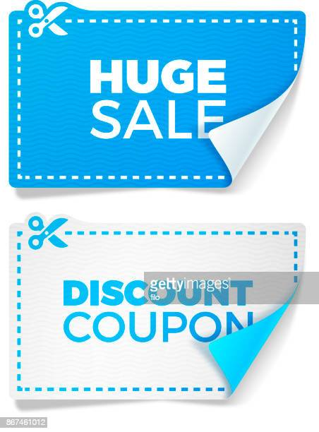 blue sale discount coupons - coupon stock illustrations