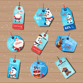 Blue Sale Tages Christmas Shopping Discounts Stickers Collection On Wooden Background