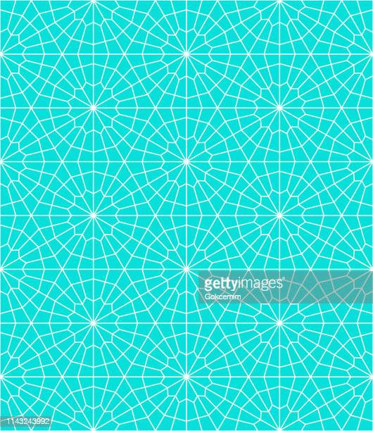 blue seamless minimalist modern geometric pattern on white background. clean modern wallpaper with bright color. lisbon arabic geometric tile, mediterranean ornament. - ottoman empire stock illustrations