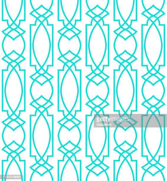 Blue Seamless Minimalist Modern Geometric Pattern on White Background. Clean Modern Wallpaper with Bright Color. Lisbon Arabic Geometric Tile, Mediterranean Ornament.