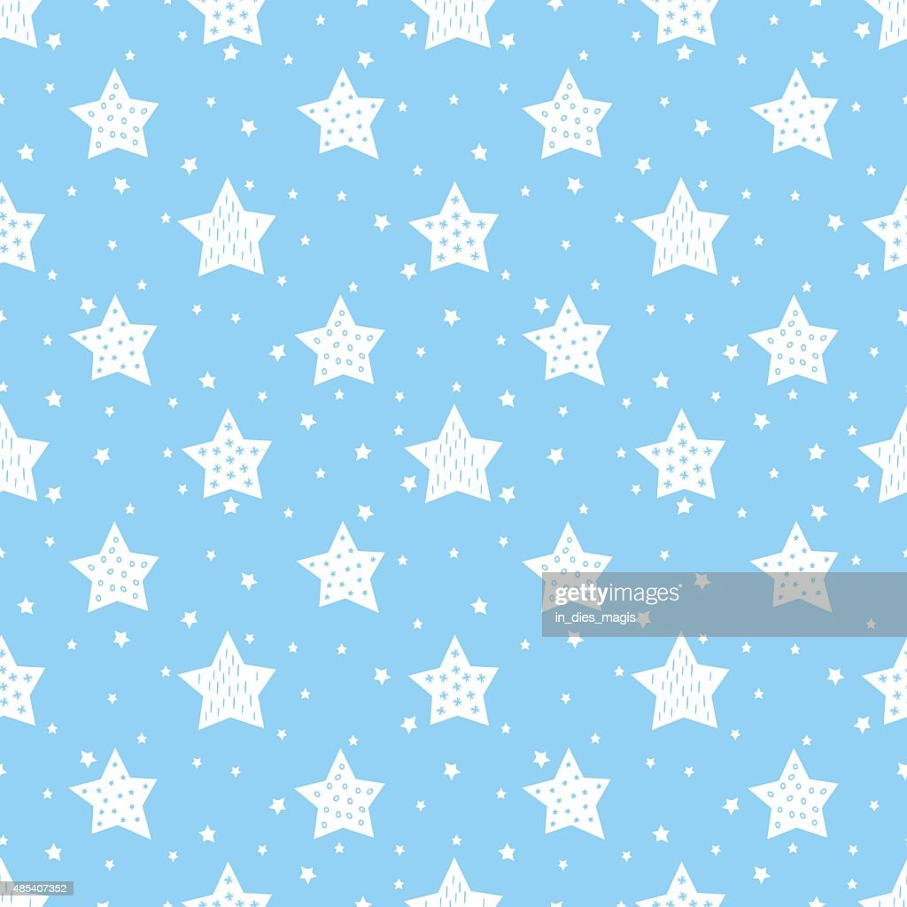 Blue seamless pattern with cute stars for kids.
