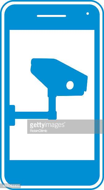 blue security camera smart phone icon - big brother orwellian concept stock illustrations, clip art, cartoons, & icons