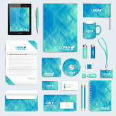 Blue set of vector corporate identity template. Modern stationery mock