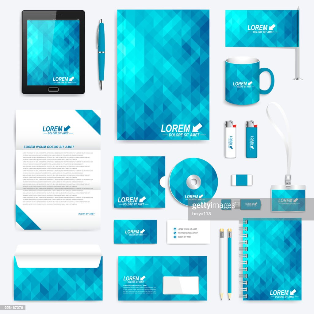 Blue set of vector corporate identity template. Modern stationery mock-up. Background with blue triangles. Business, science, medicine and technology design. Branding design