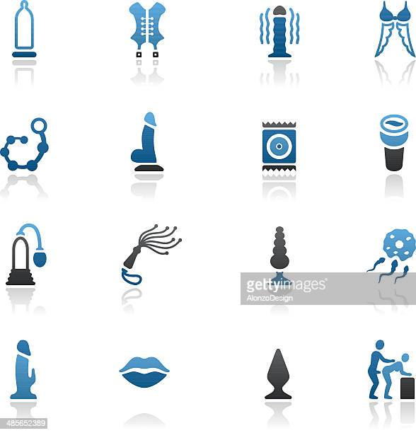blue sex toy icon set - sex and reproduction stock illustrations, clip art, cartoons, & icons