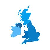 Blue shape with name of the country of United Kingdom