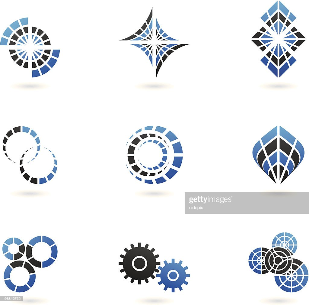 blue shapes and graphic design elements (set of 9)