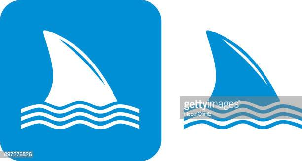 illustrations, cliparts, dessins animés et icônes de icônes de nageoires de requin bleu - requin