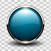 Blue shiny button