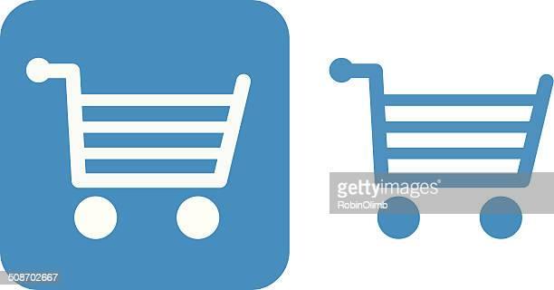 ブルーのショッピングカートのアイコン - 満たす点のイラスト素材/クリップアート素材/マンガ素材/アイコン素材