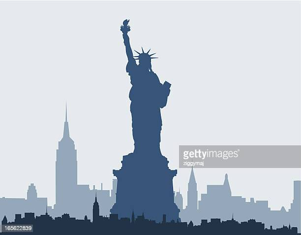 blue silhouette of statue of liberty and new york skyline - statue of liberty stock illustrations