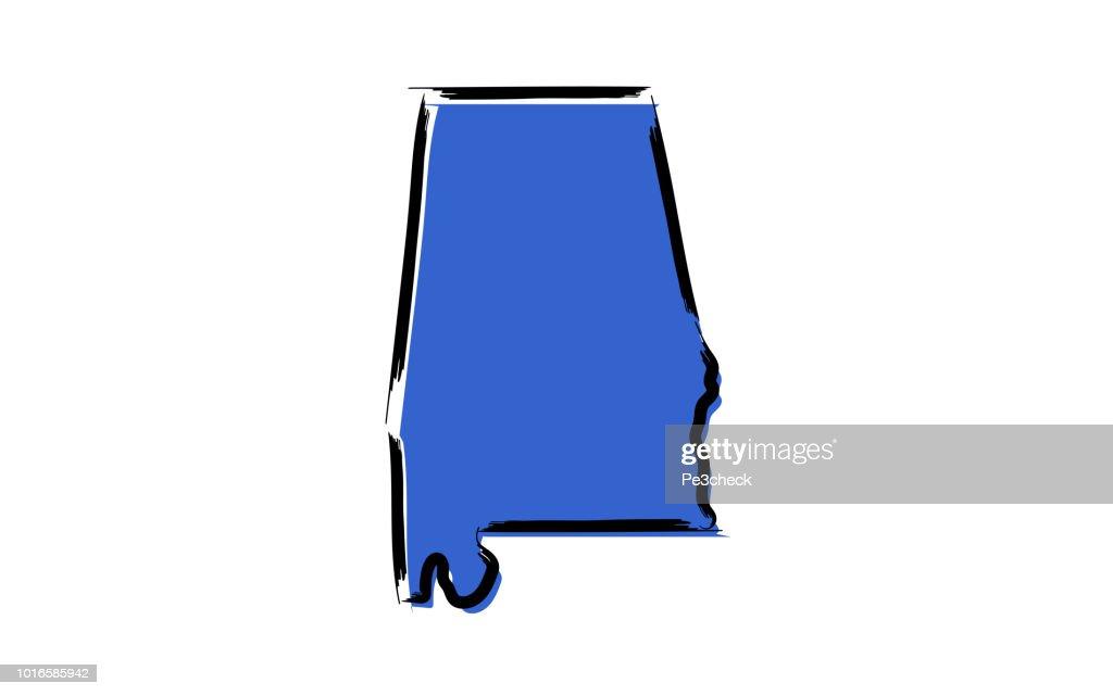 Blue sketch map of Alabama