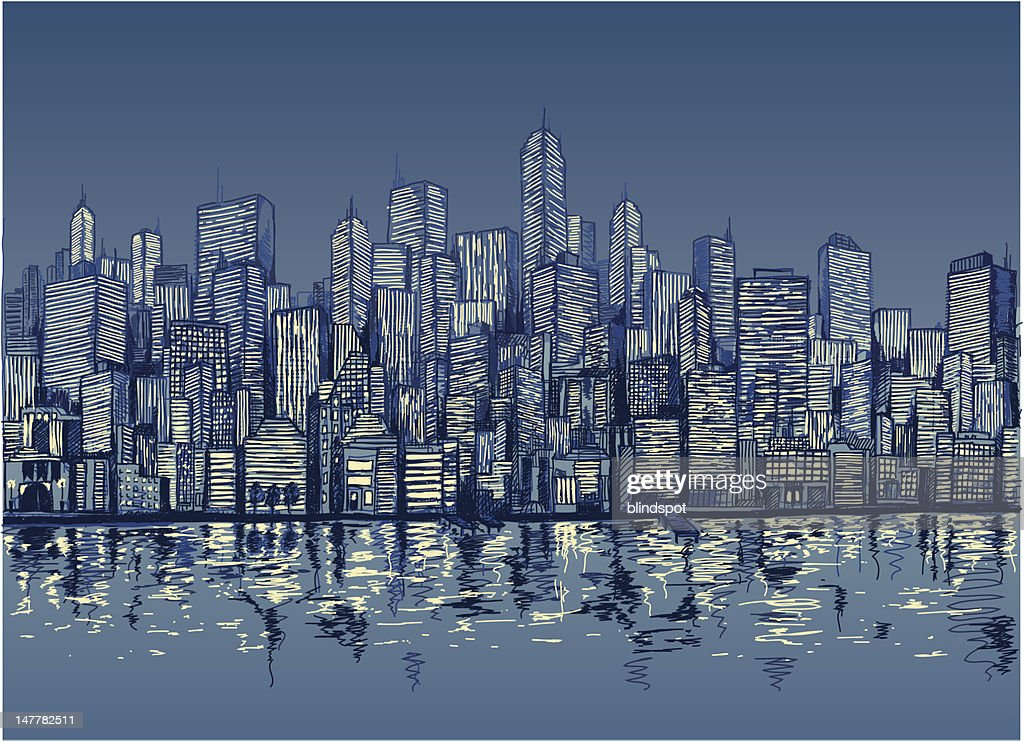 Blue sketch of city skyline by water at night
