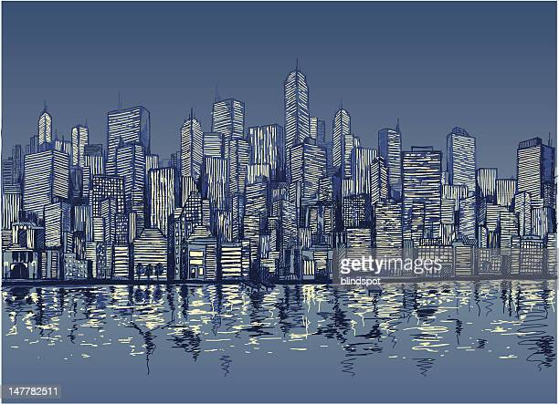 blue sketch of city skyline by water at night - skyscraper stock illustrations
