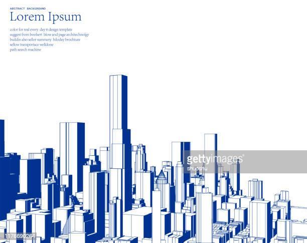 illustrazioni stock, clip art, cartoni animati e icone di tendenza di poster di illustrazione dello skyline della città in stile schizzo blu - paesaggio urbano
