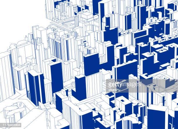 illustrazioni stock, clip art, cartoni animati e icone di tendenza di blue sketch style overlook modern city architecture poster - miglioramento digitale