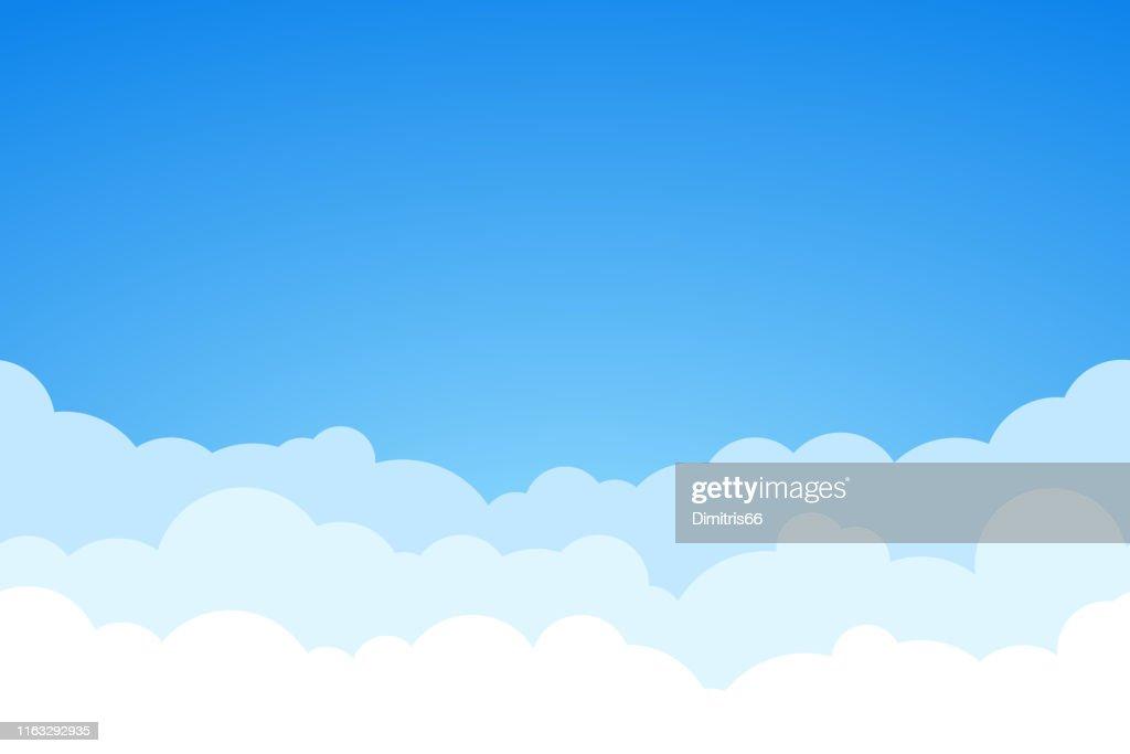 Fundo sem emenda do vetor do céu azul e das nuvens. : Ilustração