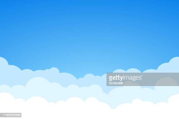 blue sky and clouds seamless vector background. - day stock illustrations