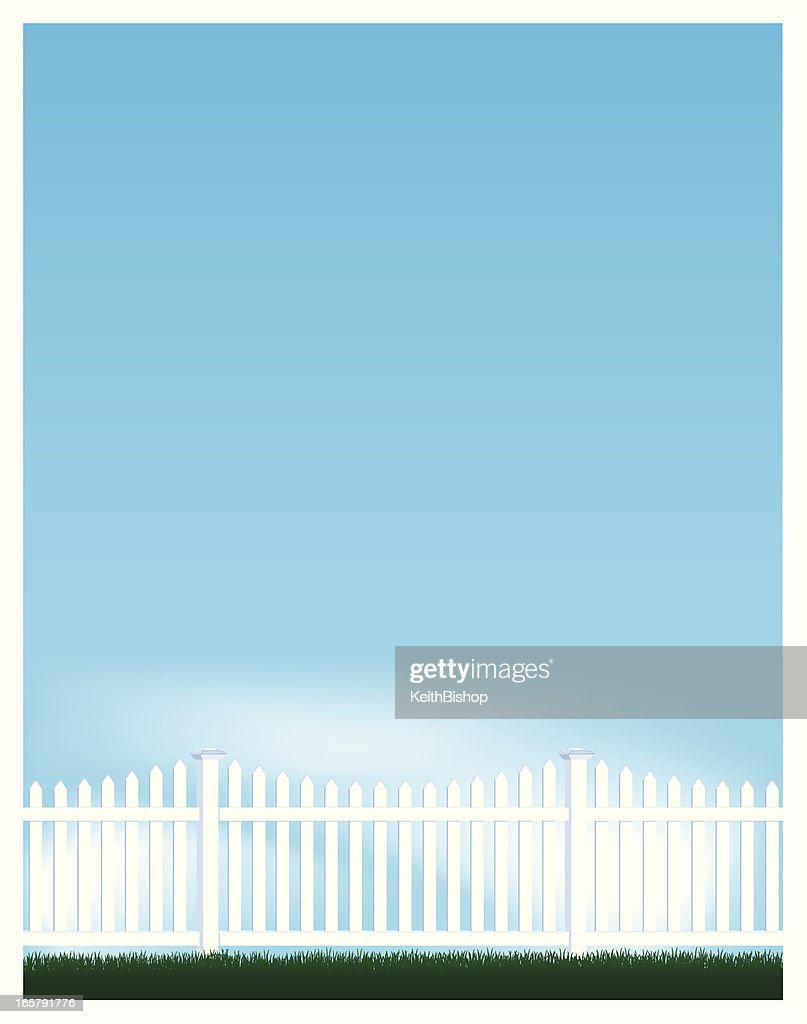 Blue Sky and Picket Fence Background