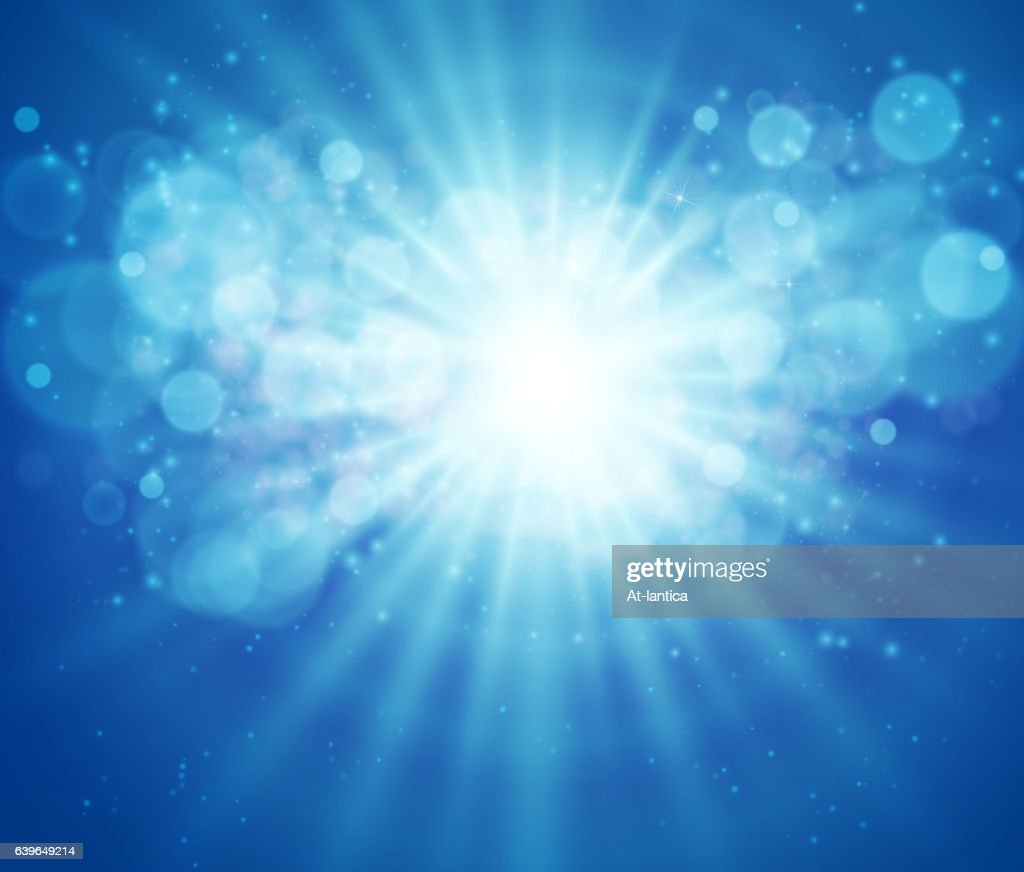 Blue sky and sun. Realistic Blur Design With Burst Rays