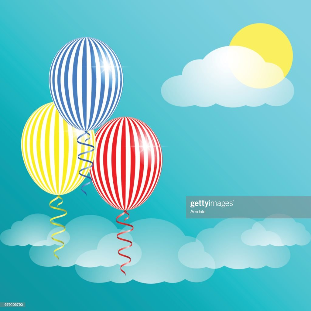 blue sky clouds and striped balloons vector art