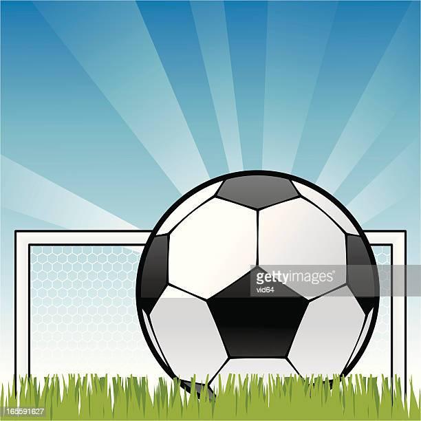 illustrations, cliparts, dessins animés et icônes de ciel bleu football - devant