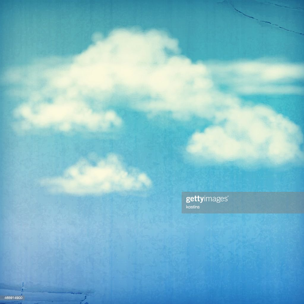 Blue Sky White Clouds Vintage Background