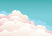 Blue sky with beautifull clouds.Vector nature background