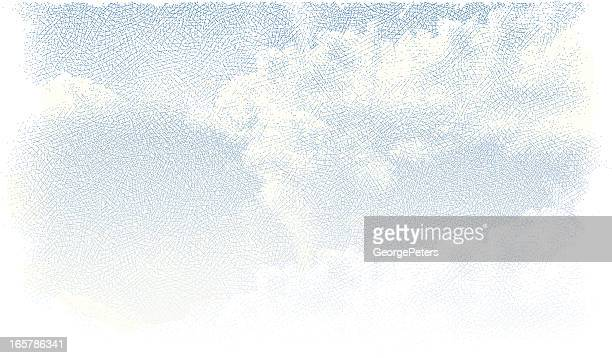 blue sky with cloudscape - etching stock illustrations