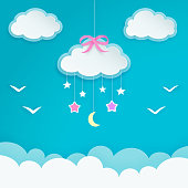 Blue sky with hanging cloud with pink bow, crescent moon, stars and birds silhouettes. Paper cloud shape labels. Children's room or baby nursery decor. Minimal and elegant decorative wallpaper. Vector.