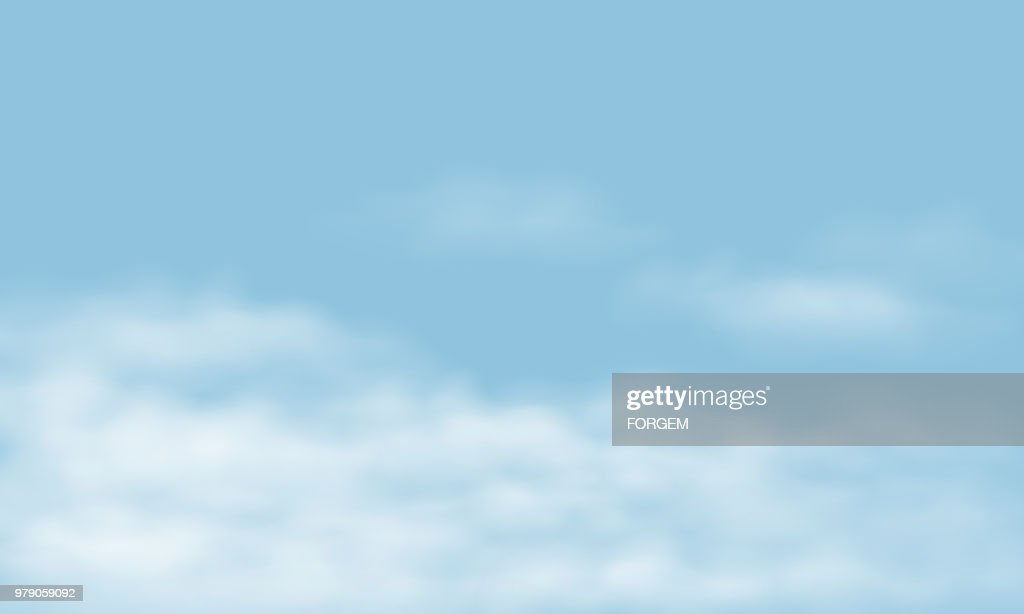 Blue sky with realistic white clouds, with space for your text - vector