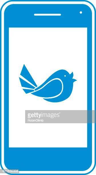 ilustrações de stock, clip art, desenhos animados e ícones de blue smart phone - canto de passarinho