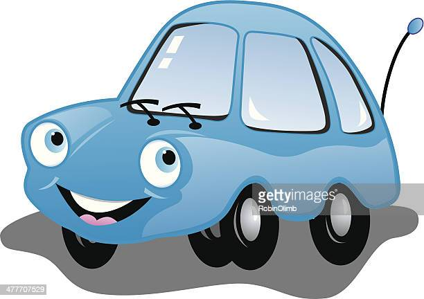 blue smiling car - compact car stock illustrations, clip art, cartoons, & icons