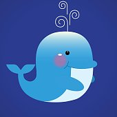 Blue smiling whale cartoon character with water fountain blow