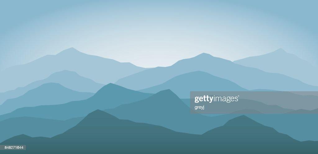 Blue snow mountains at dawn landscape background