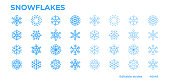 Blue snowflakes icons for winter, Christmas and New Year decoration. Editable stroke.