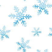 Blue snowflakes, seamless background
