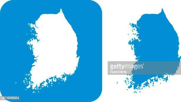 blue south korea icons - south korea stock illustrations, clip art, cartoons, & icons