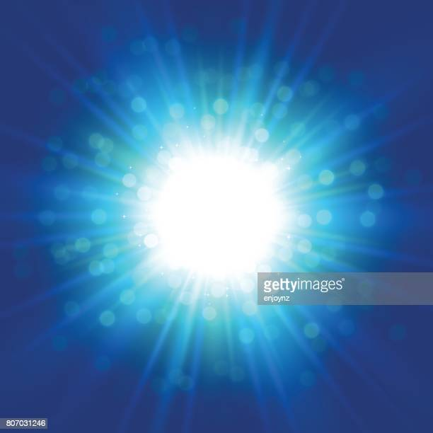 blue space starburst background - light natural phenomenon stock illustrations, clip art, cartoons, & icons