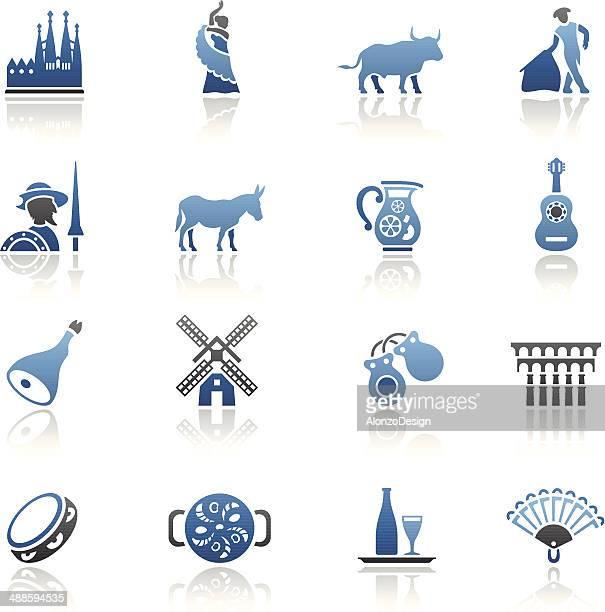 Conjunto de iconos azules español